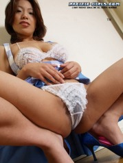 Maid in a blue skirt and white panties