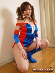 Colorfull asian cheerleader in white panties