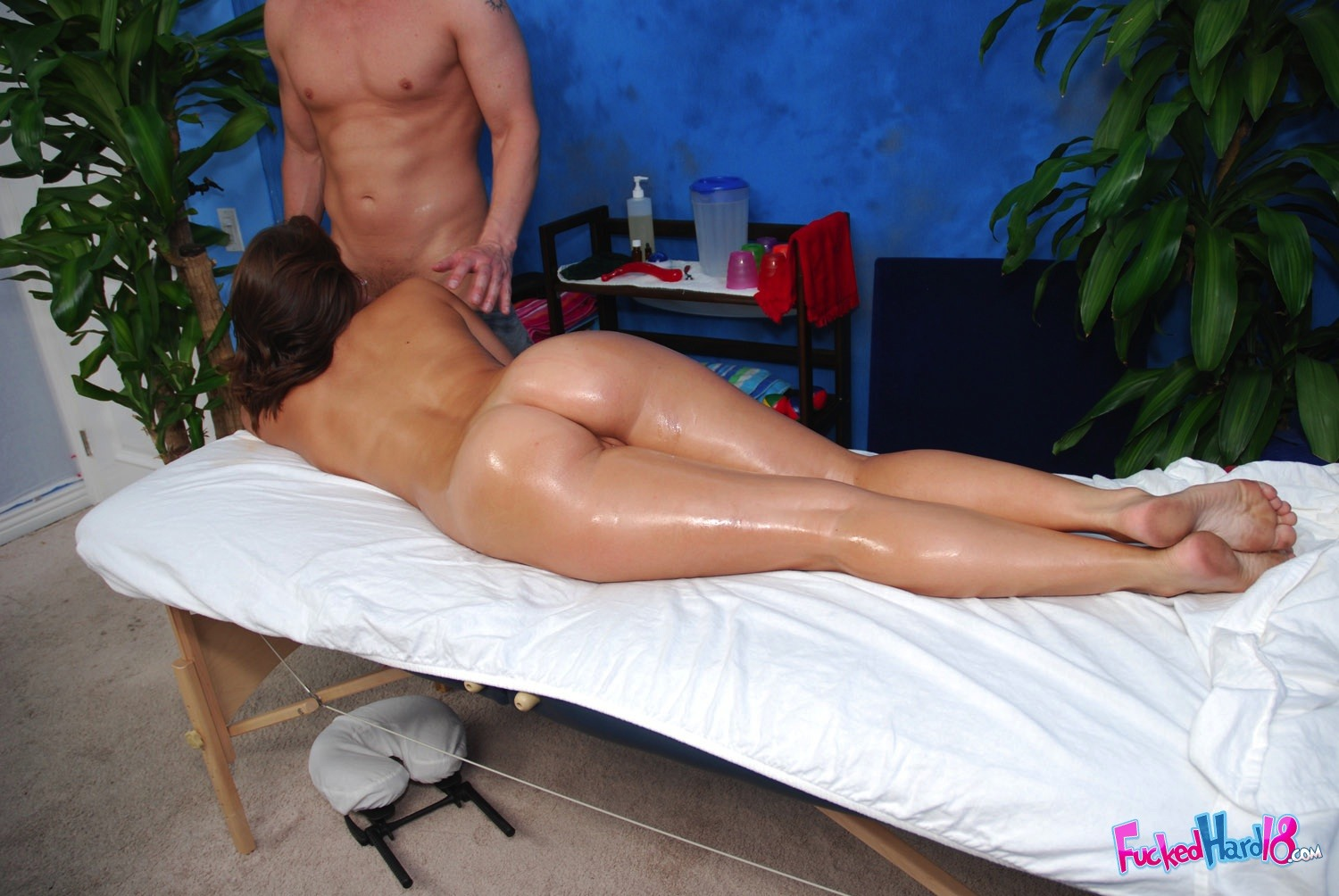 Mature gal massaged by young chick