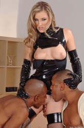 Blonde Enjoying Two Men Licking Wet Slit