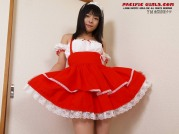Sweet asian maid in red dress show pink pussy