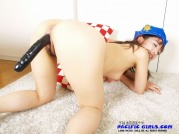 Blue police asian girl in yellow panty