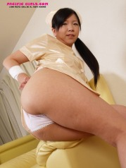Asian nurse girl shows red vagina