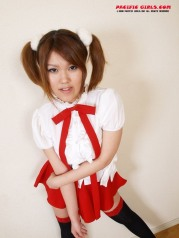 Red uniform Asian Girl Photo Set