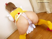 Yellow colored asian girl
