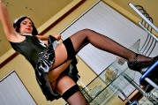 Vivacious French Maid In Lacy Black Stockings