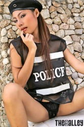 Kathy Ramos in her police outfit naked