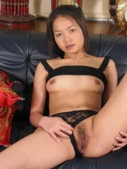 Asian Girl Sucks Cock While Toying Her Hairy Pussy