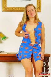 Chubby Teen In Tight Blue Dress Shows Her Hairy Pussy