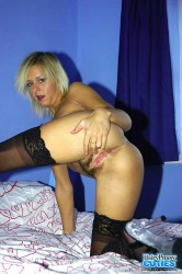 Hairy Blonde In Stockings Dildo Toying On Bed
