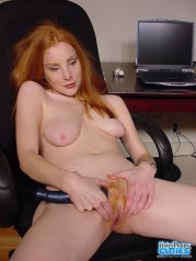 Hairy Brunette With Big Tits Toying In Office