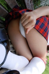 Hottie Japanese Schoolgirl Mihiro Showing Her Panties Upskirt