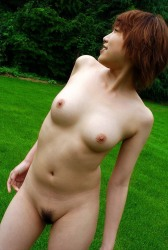 Adorable Japanese Girl Madoka Posing Naked In The Yard