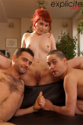 Hairy Pussy Red Head Sucks Dick While Fucking Another