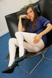 Nadia In Delicious Nurses Uniform With Thick White Pantyh