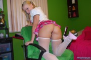 Schoolgirl Britney Plays With Dildo In Her Uniform