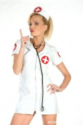 Shy Nurse Wearing Red Lipstick Slowly Undresses