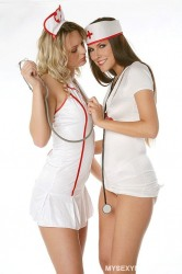 Two Off Duty Nurses Flirting With Each Other