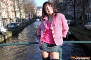 Teenie Showing Her Goods In Public In Middle Of Amsterdam
