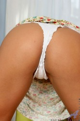 Long Haired Tanned Blonde Anilos Bends Over Revealing Tasty Vie