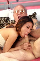 Old Man Giving An Asian Girl Facial