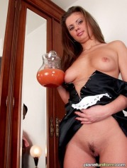 Sexy maid Caprice shows her pussy and tits