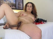 Hairy Housewife Playing With Her Pussy And Dildo