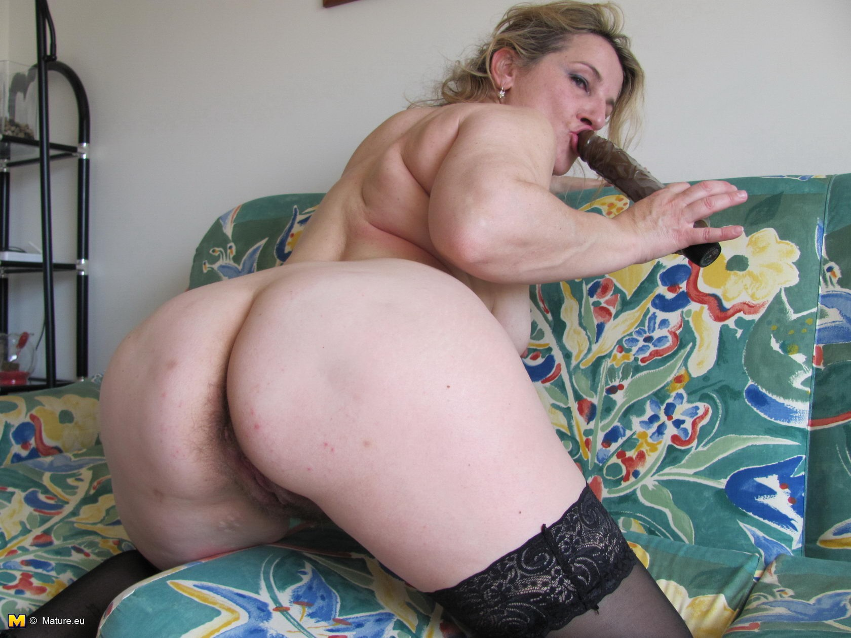 Slut plays with pussy