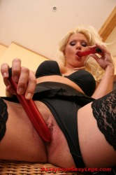 Playful Blonde In Stockings Fucks Herself With Dildos