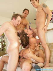 Busty Brunette Dped Airlocked On Bed Gangbang