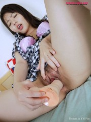 Asian lady show nice ass and pink pussy