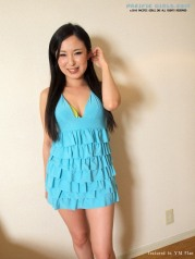 Sexy asian girl in blue skirt show vagina
