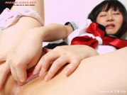 Japan schoolgirl in white panty stretches pussy