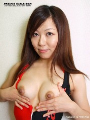 Asian girl stretches pink hole