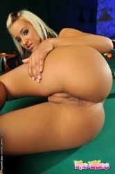 Sexy Blonde Babe Fingering In Pink On Pool Table