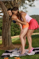 Pigtailed Picnickers Teen Girls Plug Buttholes