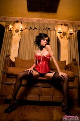 Lela Star Looks Amazing In Her Red Corset And Stockings