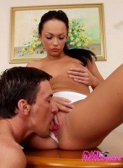 Pony-tailed Brunette Hooker Gets Anally Screwed On The Kitch