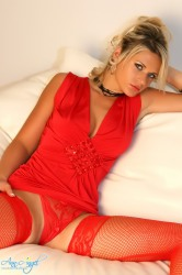 Red Dress And Open Crotch Panties
