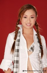Asian School Girl In Pigtails And Little White Cotton Panties
