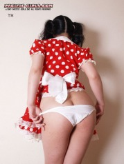 Juicy maid in a red dress spread her legs